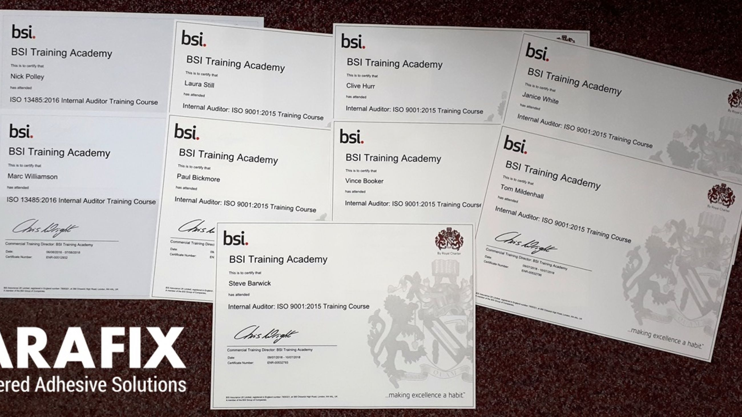 Parafix Team Now BSI-Trained ISO Internal Auditors